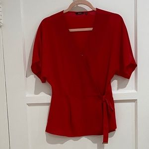 Cherry Red Wrap Top